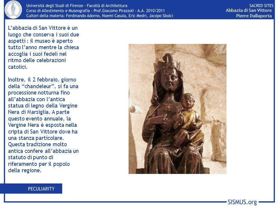 Labbazia di San Vittore è un luogo che conserva i suoi due aspetti : il museo è aperto tutto lanno mentre la chiesa accoglia i suoi fedeli nel ritmo d