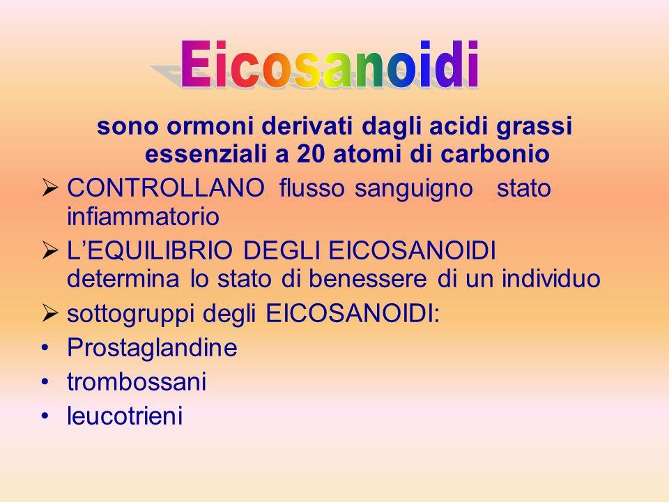 sono ormoni derivati dagli acidi grassi essenziali a 20 atomi di carbonio CONTROLLANO flusso sanguigno stato infiammatorio LEQUILIBRIO DEGLI EICOSANOIDI determina lo stato di benessere di un individuo sottogruppi degli EICOSANOIDI: Prostaglandine trombossani leucotrieni