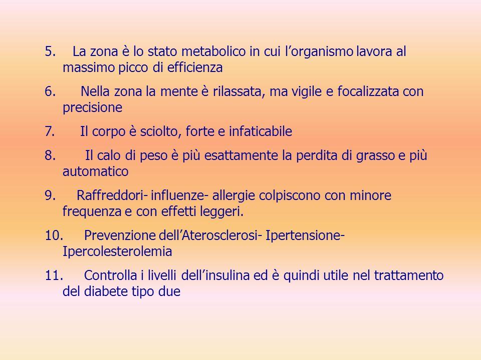 5.La zona è lo stato metabolico in cui lorganismo lavora al massimo picco di efficienza 6.
