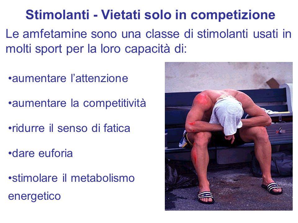 aumentare lattenzione aumentare la competitività ridurre il senso di fatica dare euforia stimolare il metabolismo energetico Stimolanti - Vietati solo