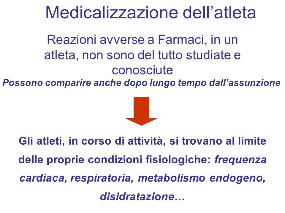 Reazioni avverse a Farmaci, in un atleta, non sono del tutto studiate e conosciute Possono comparire anche dopo lungo tempo dallassunzione Gli atleti,