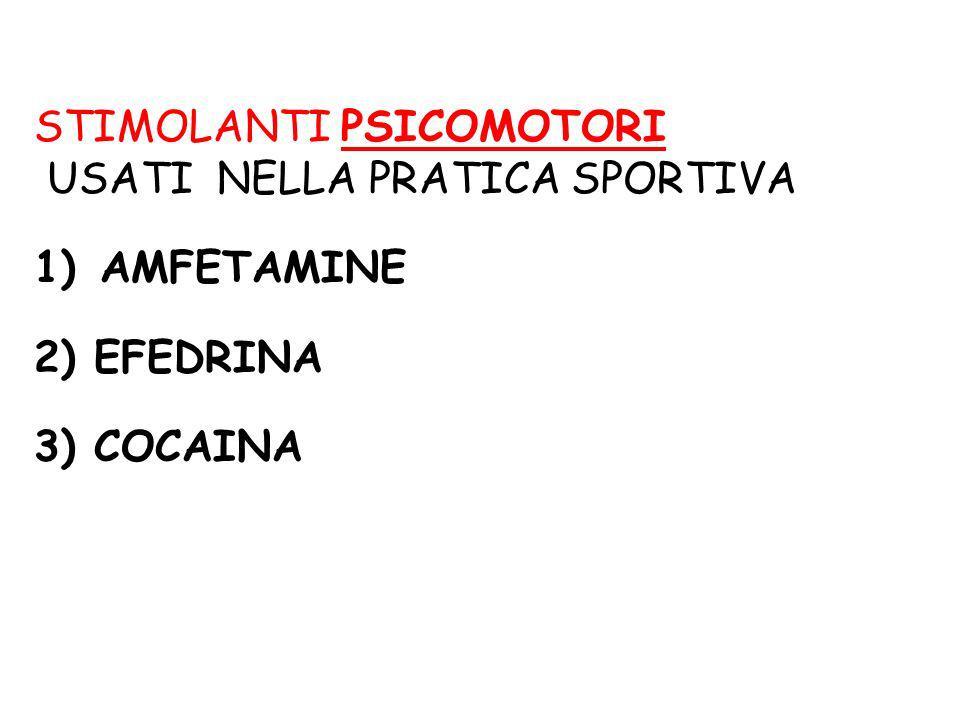 STIMOLANTI PSICOMOTORI USATI NELLA PRATICA SPORTIVA 1) AMFETAMINE 2) EFEDRINA 3) COCAINA