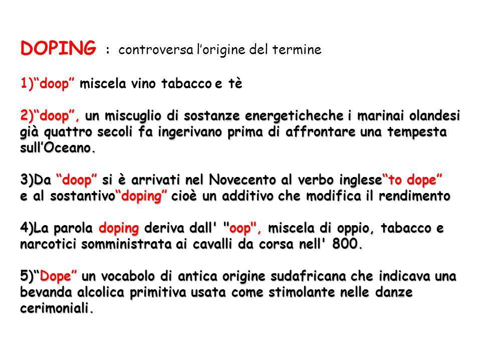 DOPING : controversa lorigine del termine 1)doop miscela vino tabacco e tè 2)doop, un miscuglio di sostanze energeticheche i marinai olandesi già quat