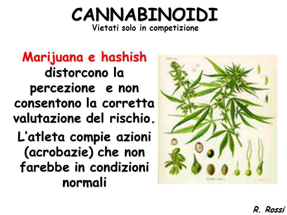 CANNABINOIDI Marijuana e hashish distorcono la percezione e non consentono la corretta valutazione del rischio. Latleta compie azioni (acrobazie) che