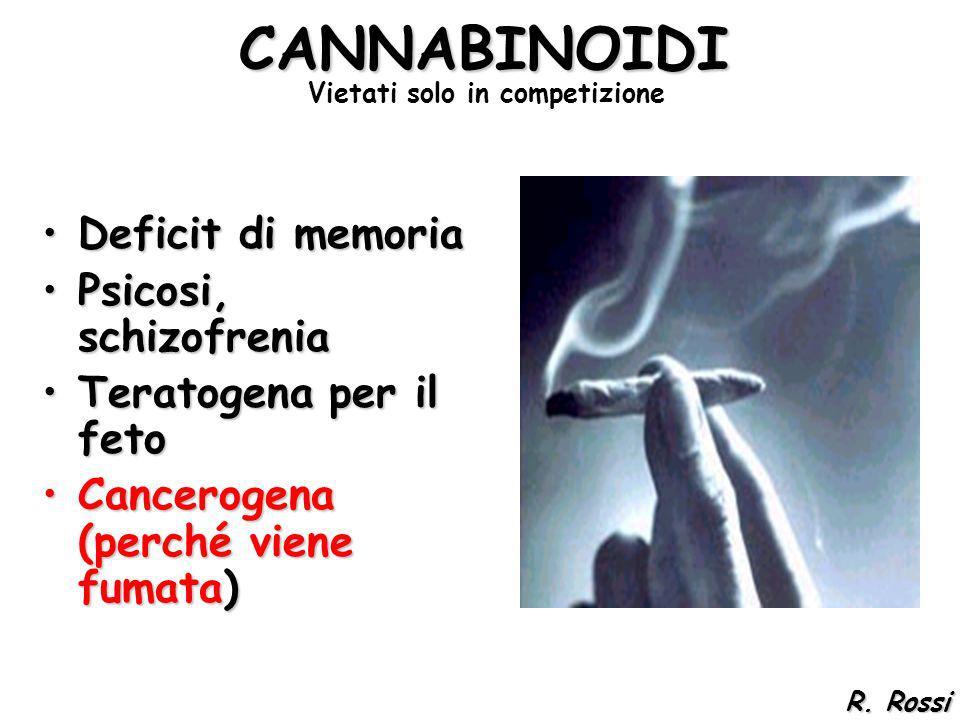 Deficit di memoriaDeficit di memoria Psicosi, schizofreniaPsicosi, schizofrenia Teratogena per il fetoTeratogena per il feto Cancerogena (perché viene