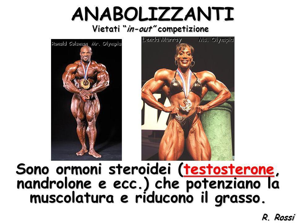ANABOLIZZANTI ANABOLIZZANTI Sono ormoni steroidei (testosterone, nandrolone e ecc.) che potenziano la muscolatura e riducono il grasso. Mr. Olympia Ms