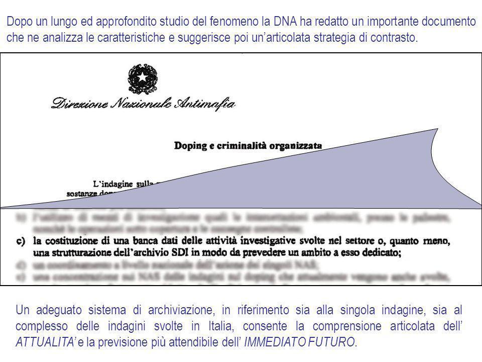 Dopo un lungo ed approfondito studio del fenomeno la DNA ha redatto un importante documento che ne analizza le caratteristiche e suggerisce poi unarticolata strategia di contrasto.