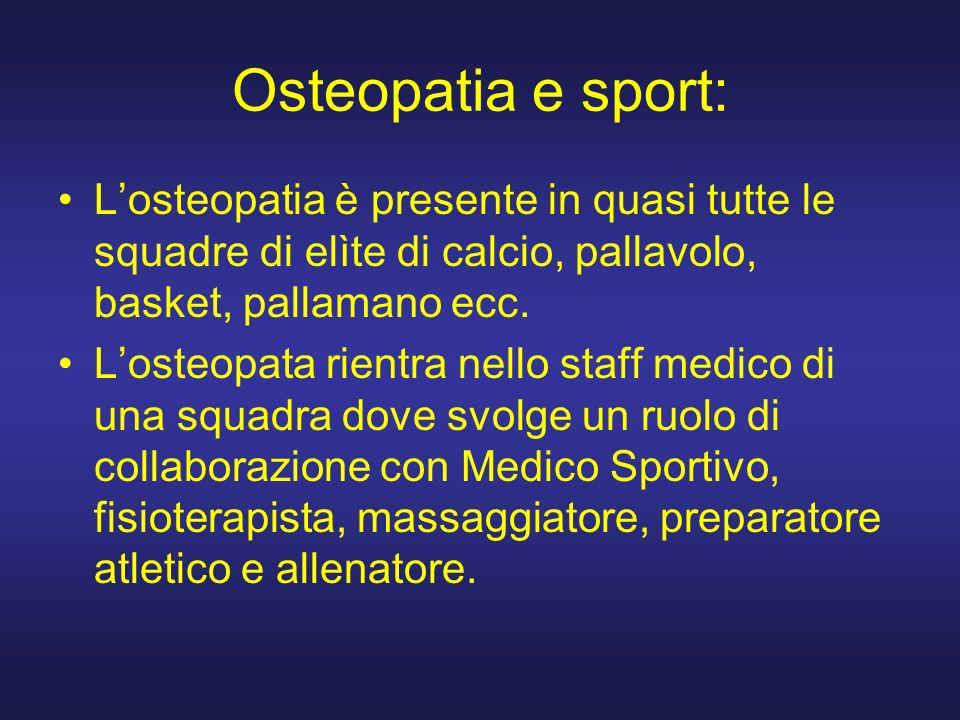 Osteopatia e sport: Losteopatia è presente in quasi tutte le squadre di elìte di calcio, pallavolo, basket, pallamano ecc.