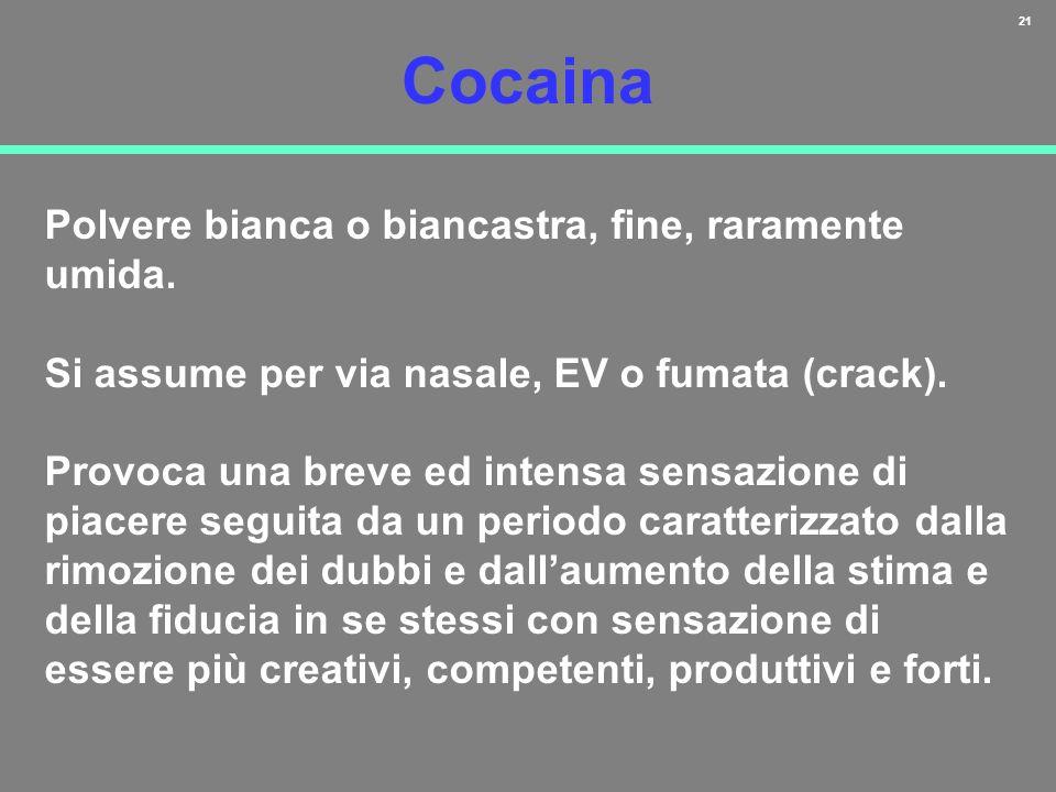 21 Cocaina Polvere bianca o biancastra, fine, raramente umida. Si assume per via nasale, EV o fumata (crack). Provoca una breve ed intensa sensazione