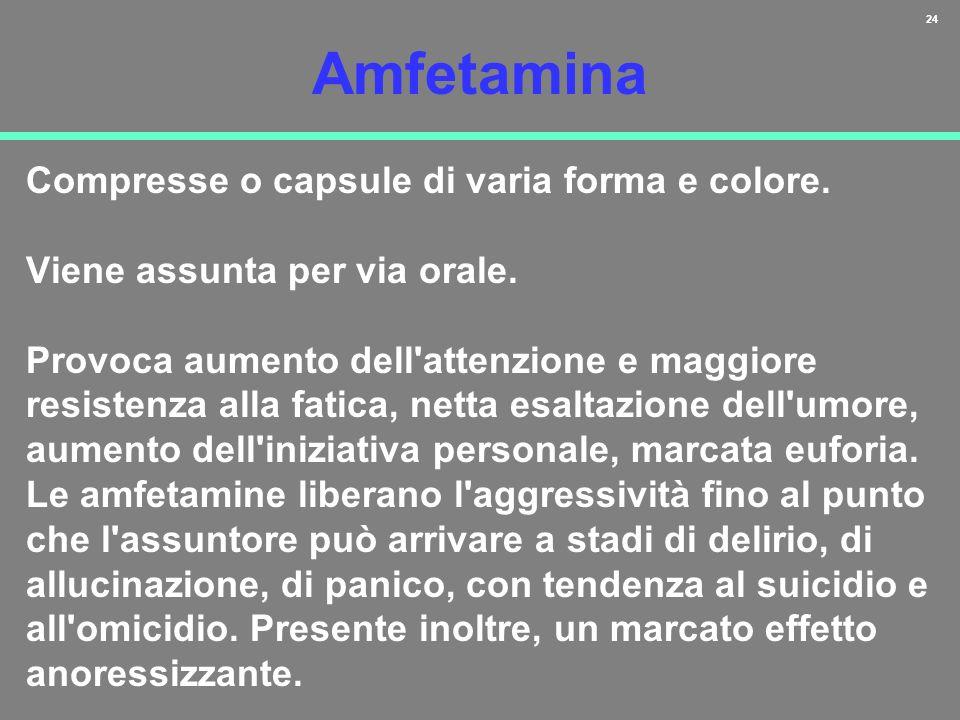 24 Amfetamina Compresse o capsule di varia forma e colore. Viene assunta per via orale. Provoca aumento dell'attenzione e maggiore resistenza alla fat