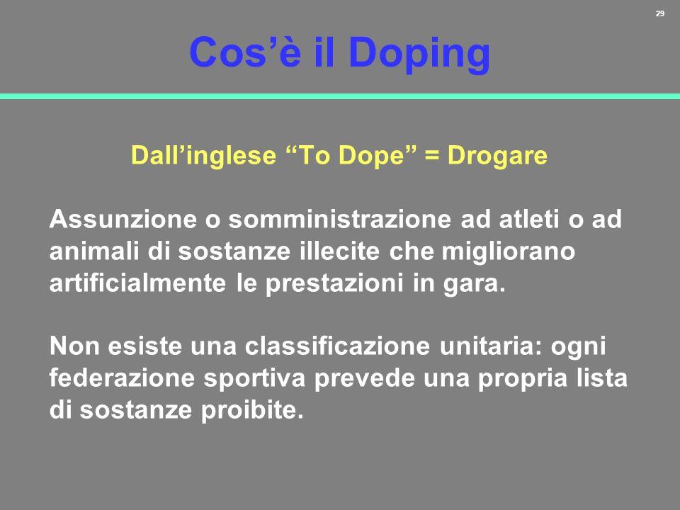 29 Cosè il Doping Dallinglese To Dope = Drogare Assunzione o somministrazione ad atleti o ad animali di sostanze illecite che migliorano artificialmen