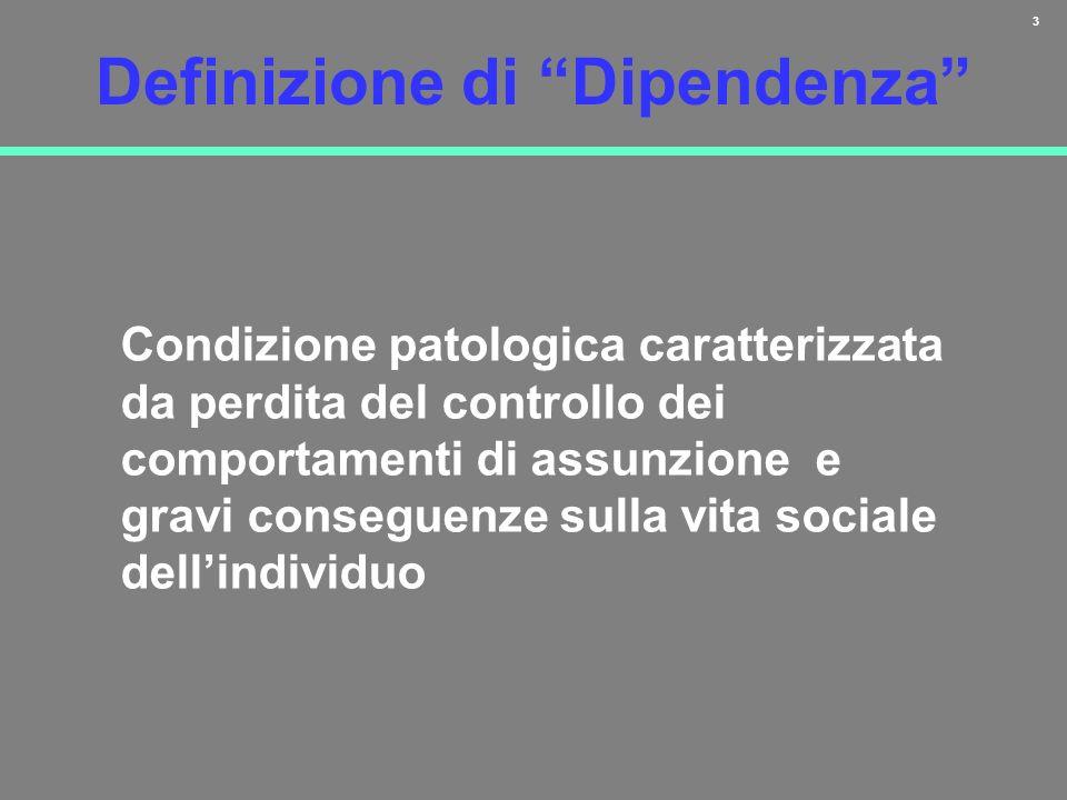 3 Definizione di Dipendenza Condizione patologica caratterizzata da perdita del controllo dei comportamenti di assunzione e gravi conseguenze sulla vi