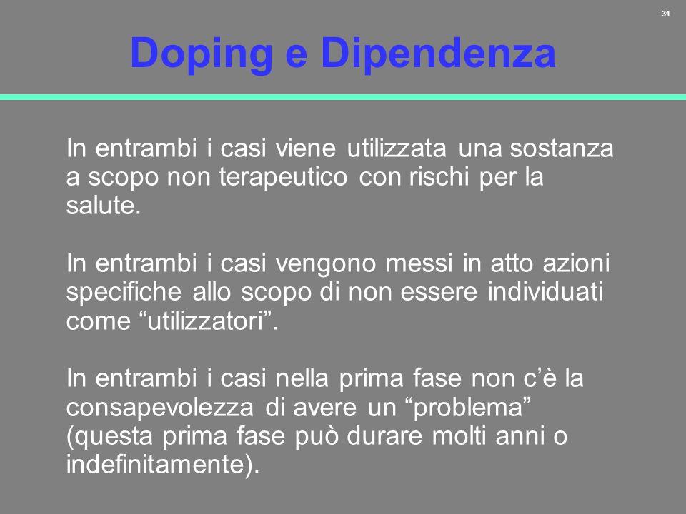 31 Doping e Dipendenza In entrambi i casi viene utilizzata una sostanza a scopo non terapeutico con rischi per la salute. In entrambi i casi vengono m