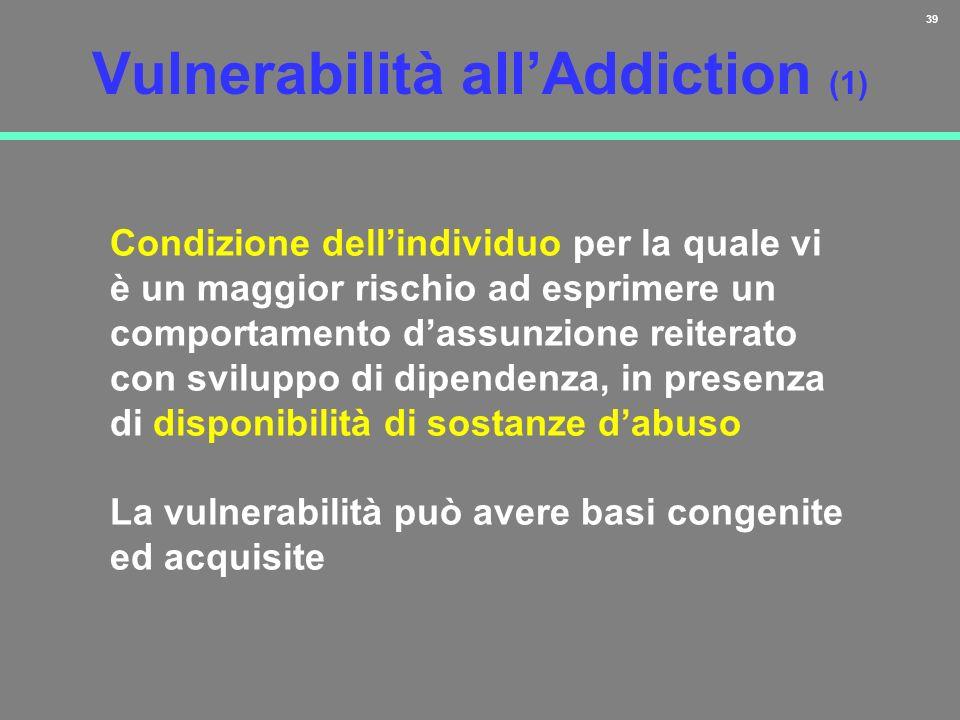 39 Vulnerabilità allAddiction (1) Condizione dellindividuo per la quale vi è un maggior rischio ad esprimere un comportamento dassunzione reiterato co