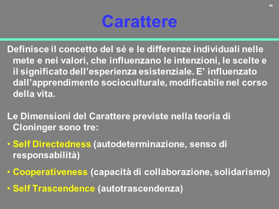 45 Carattere Definisce il concetto del sé e le differenze individuali nelle mete e nei valori, che influenzano le intenzioni, le scelte e il significa