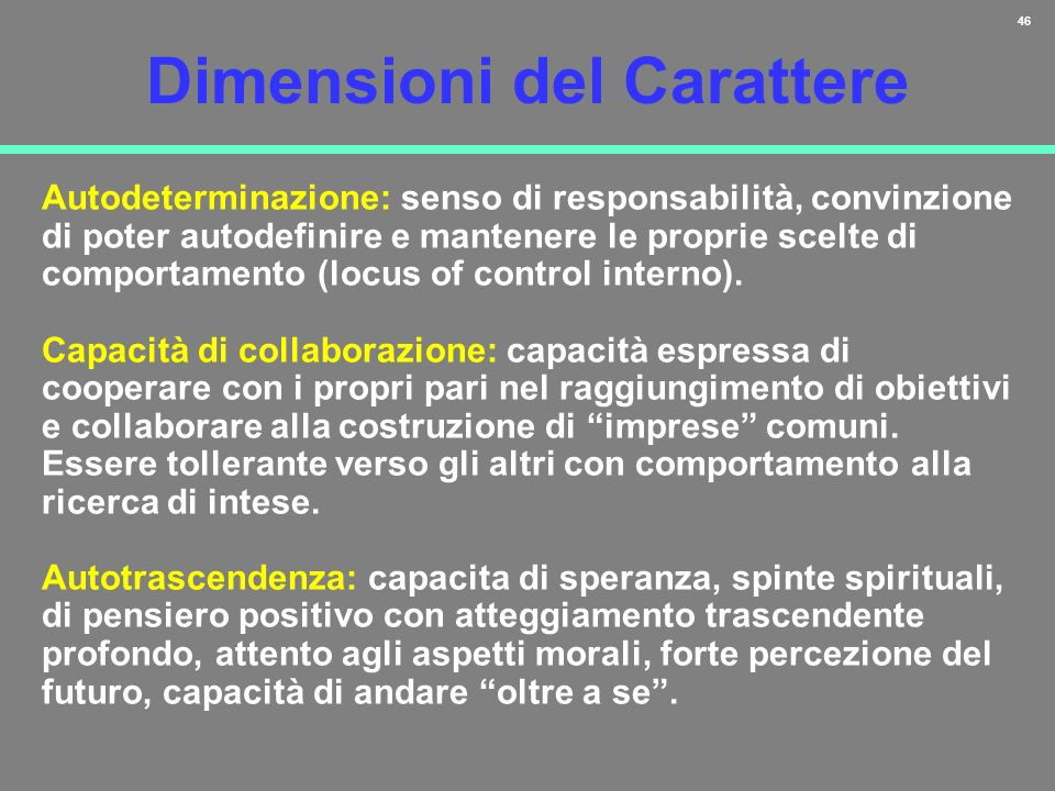 47 Reward dependence LOW HIGH Profilo a Basso Rischio Novelty seeking LOW HIGH Harm avoidance LOW HIGH Persistent LOW HIGH Autodeterminazione LOW HIGH Capacità di collaborazione LOW HIGH Selftrascendent LOW HIGH Espressione TEMPERAMENTO PREVALENTE CARATTERE 11 22