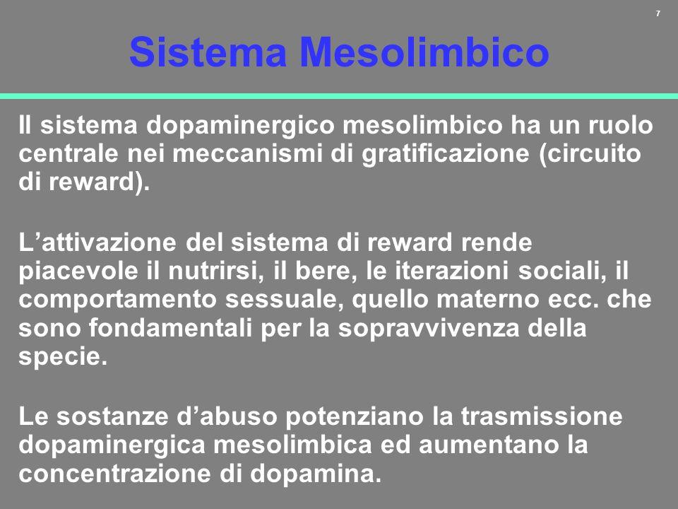 7 Sistema Mesolimbico Il sistema dopaminergico mesolimbico ha un ruolo centrale nei meccanismi di gratificazione (circuito di reward). Lattivazione de