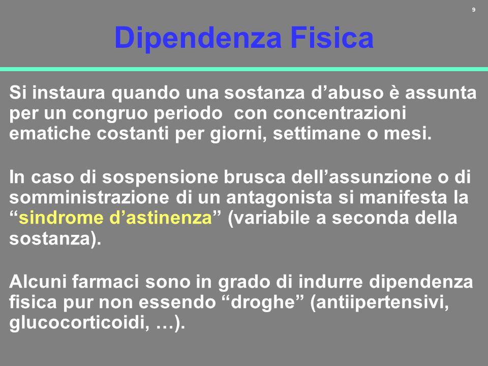 9 Dipendenza Fisica Si instaura quando una sostanza dabuso è assunta per un congruo periodo con concentrazioni ematiche costanti per giorni, settimane