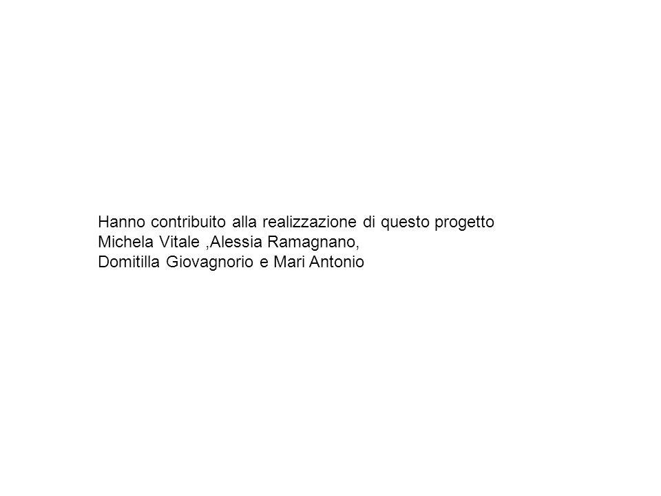 Hanno contribuito alla realizzazione di questo progetto Michela Vitale,Alessia Ramagnano, Domitilla Giovagnorio e Mari Antonio