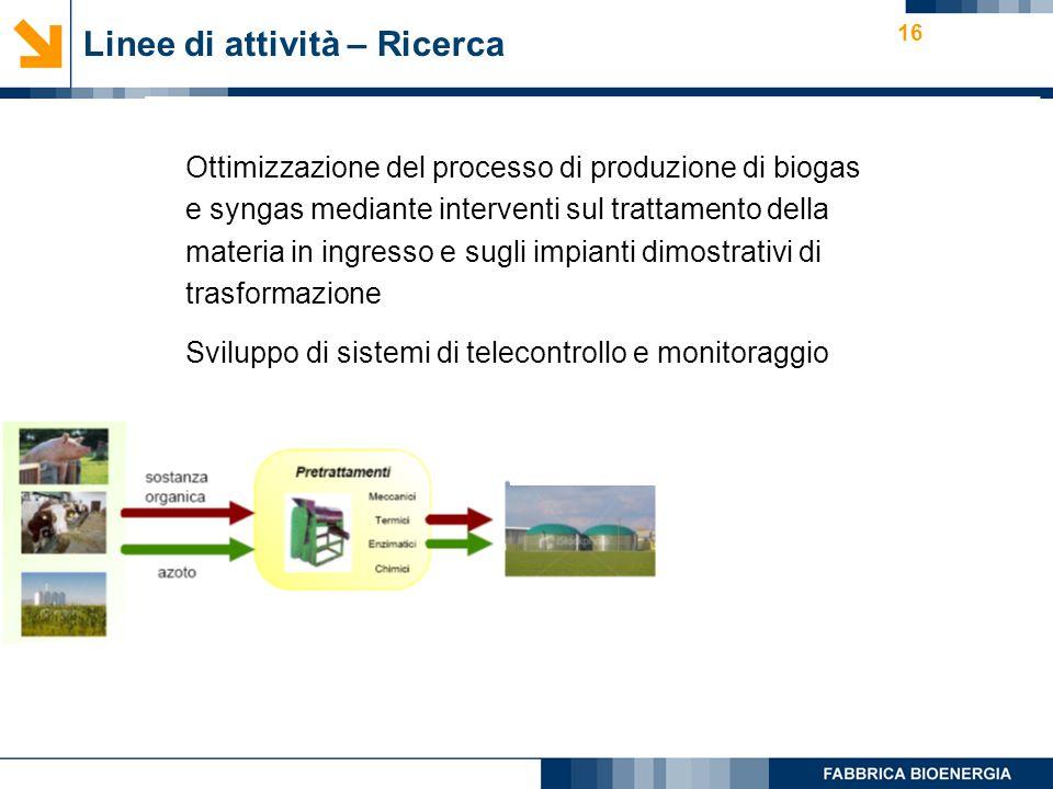 16 Linee di attività – Ricerca Ottimizzazione del processo di produzione di biogas e syngas mediante interventi sul trattamento della materia in ingresso e sugli impianti dimostrativi di trasformazione Sviluppo di sistemi di telecontrollo e monitoraggio