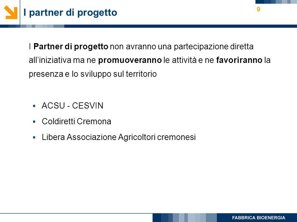 9 I partner di progetto I Partner di progetto non avranno una partecipazione diretta alliniziativa ma ne promuoveranno le attività e ne favoriranno la presenza e lo sviluppo sul territorio ACSU - CESVIN Coldiretti Cremona Libera Associazione Agricoltori cremonesi