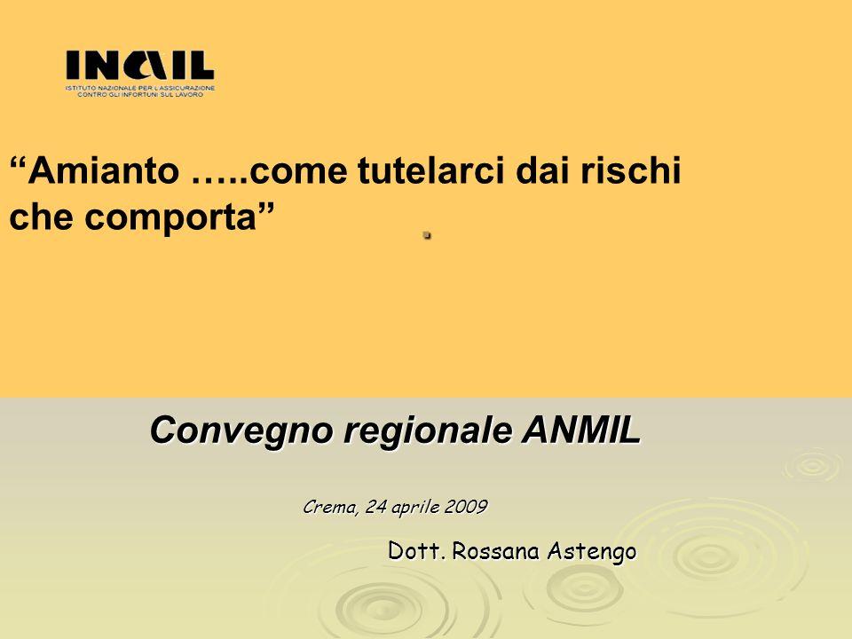 Convegno regionale ANMIL Crema, 24 aprile 2009 Dott. Rossana Astengo Dott. Rossana Astengo. Amianto …..come tutelarci dai rischi che comporta