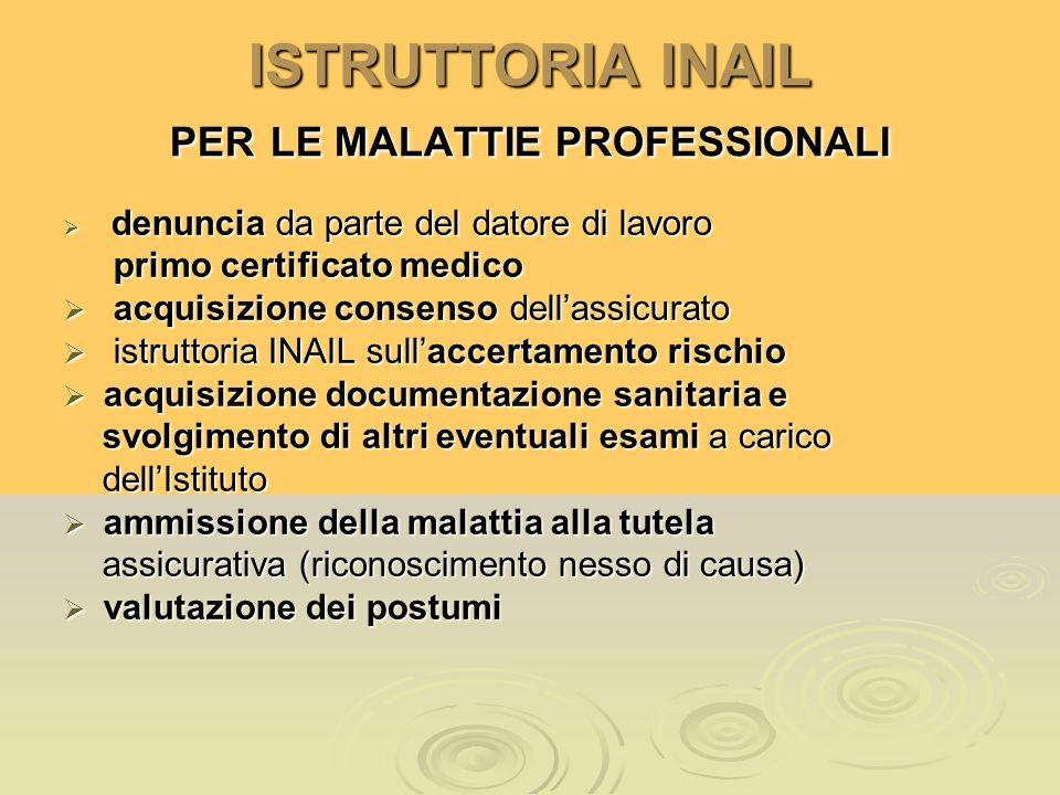 ISTRUTTORIA INAIL PER LE MALATTIE PROFESSIONALI denuncia da parte del datore di lavoro denuncia da parte del datore di lavoro primo certificato medico