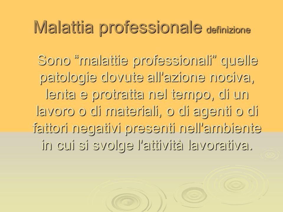 Malattia professionale definizione Sono malattie professionali quelle patologie dovute all'azione nociva, lenta e protratta nel tempo, di un lavoro o