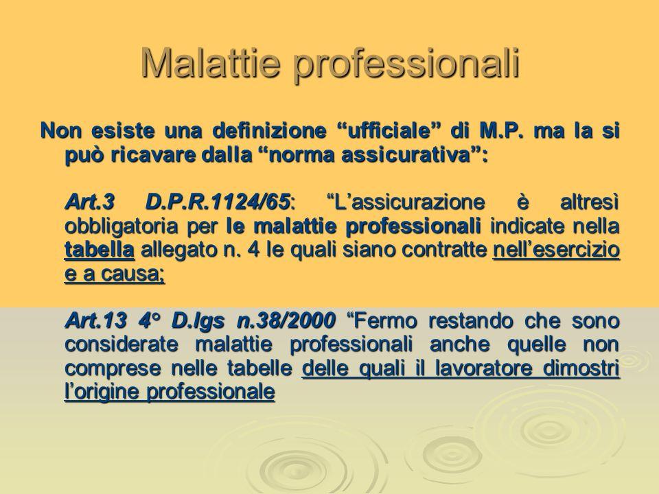 Malattie professionali Non esiste una definizione ufficiale di M.P. ma la si può ricavare dalla norma assicurativa: Art.3 D.P.R.1124/65: Lassicurazion