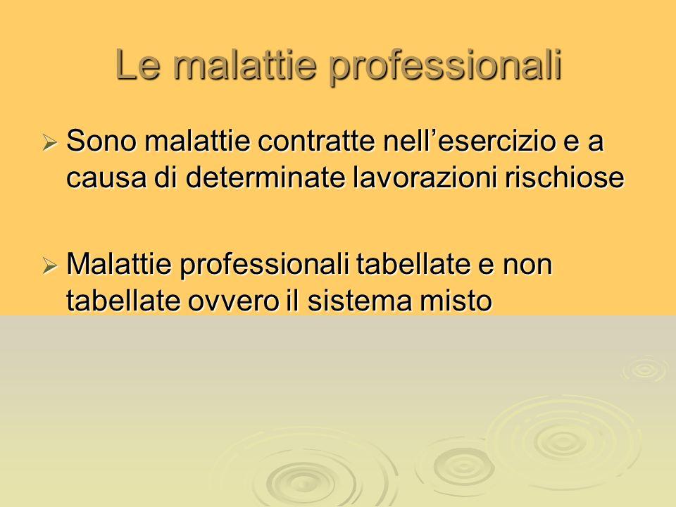 Le malattie professionali Sono malattie contratte nellesercizio e a causa di determinate lavorazioni rischiose Sono malattie contratte nellesercizio e