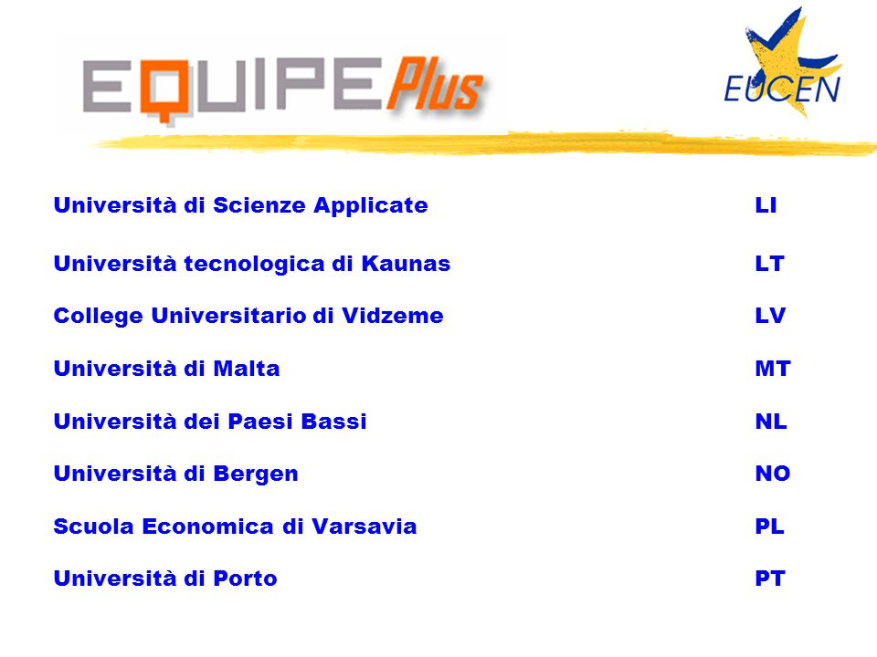 Università di Scienze ApplicateLI Università tecnologica di KaunasLT College Universitario di Vidzeme LV Università di MaltaMT Università dei Paesi Ba