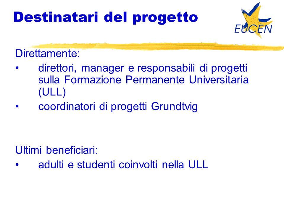 Destinatari del progetto Direttamente: direttori, manager e responsabili di progetti sulla Formazione Permanente Universitaria (ULL) coordinatori di progetti Grundtvig Ultimi beneficiari: adulti e studenti coinvolti nella ULL