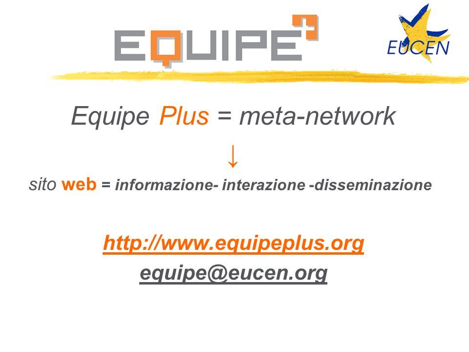 Equipe Plus = meta-network sito web = informazione- interazione -disseminazione http://www.equipeplus.org equipe@eucen.org
