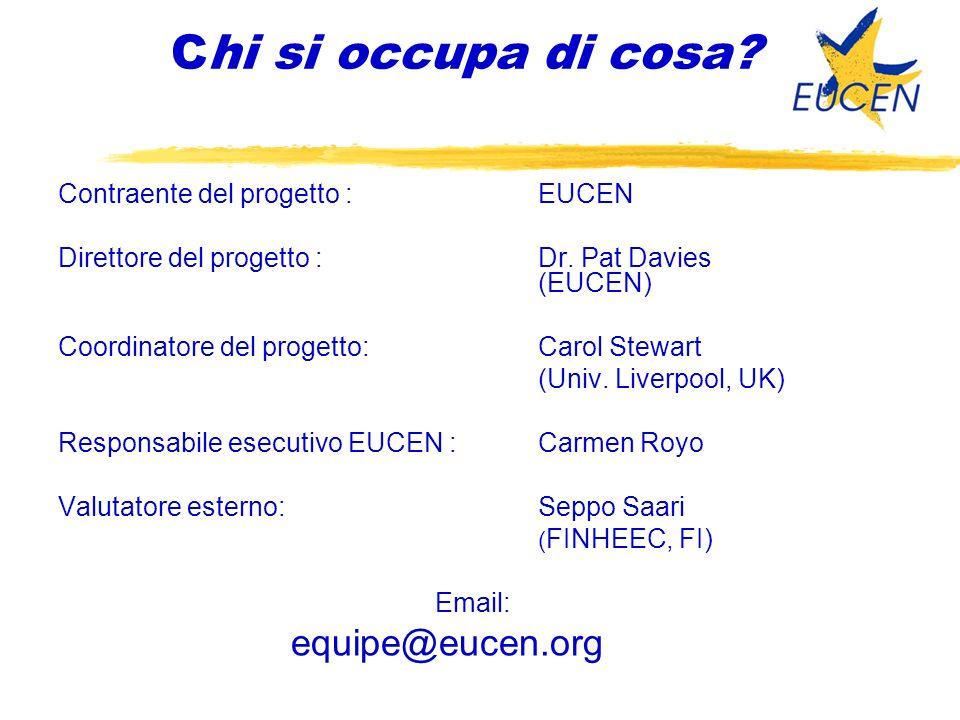 Chi si occupa di cosa. Contraente del progetto :EUCEN Direttore del progetto :Dr.