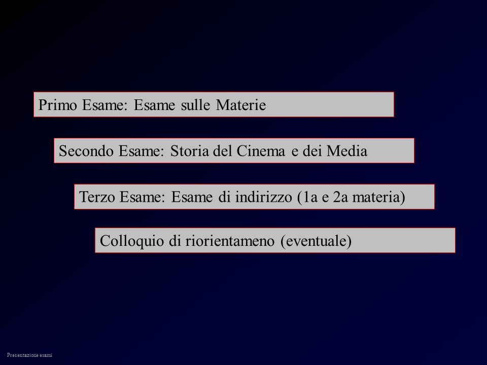 Presentazione esami Primo Esame: Esame sulle Materie Secondo Esame: Storia del Cinema e dei Media Terzo Esame: Esame di indirizzo (1a e 2a materia) Colloquio di riorientameno (eventuale)