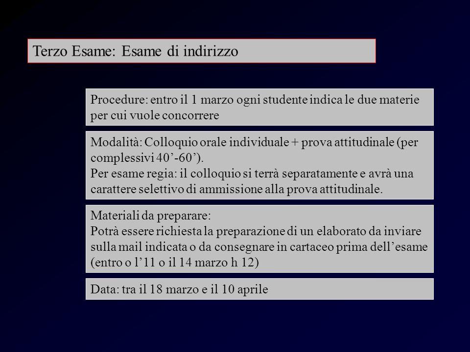 Esame indirizzo Terzo Esame: Esame di indirizzo Modalità: Colloquio orale individuale + prova attitudinale (per complessivi 40-60).