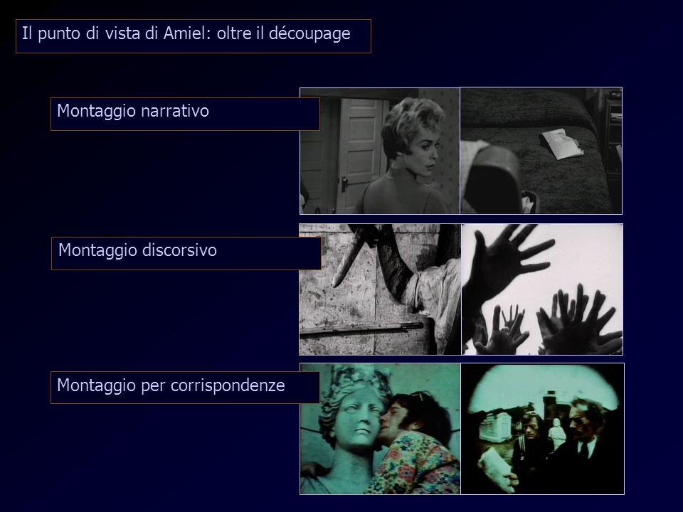 Punto di vista di Amiel Montaggio narrativo Montaggio discorsivo Montaggio per corrispondenze Il punto di vista di Amiel: oltre il découpage