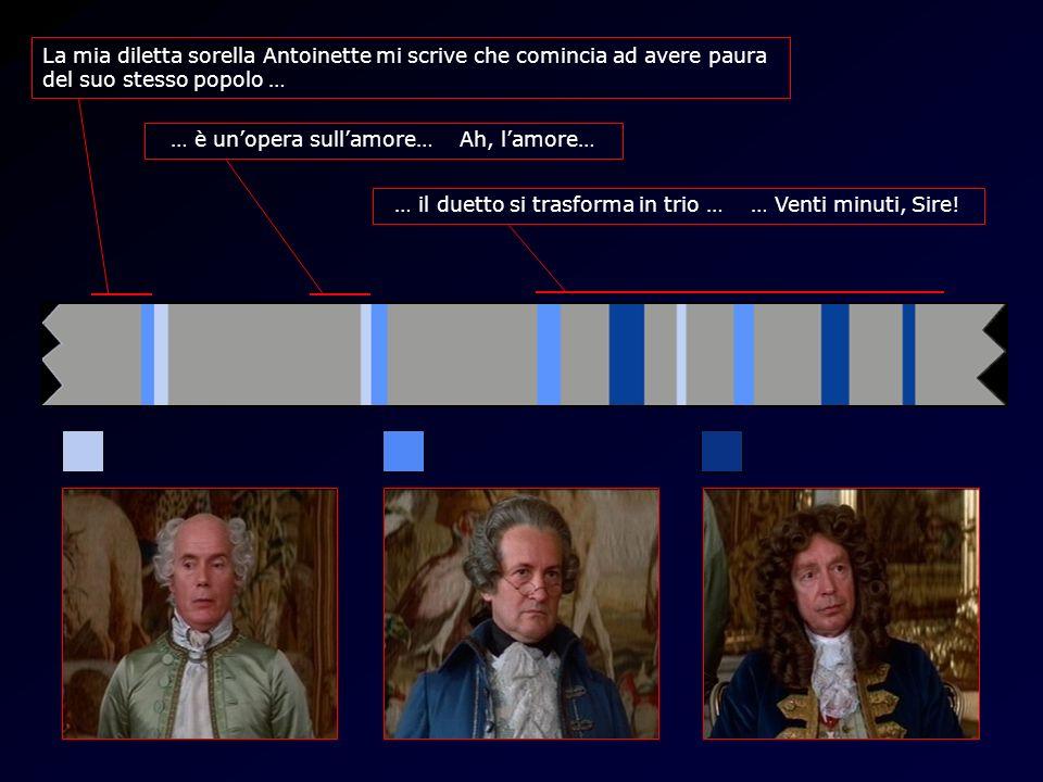 Timeline Amadeus La mia diletta sorella Antoinette mi scrive che comincia ad avere paura del suo stesso popolo … … è unopera sullamore… Ah, lamore… … il duetto si trasforma in trio … … Venti minuti, Sire!