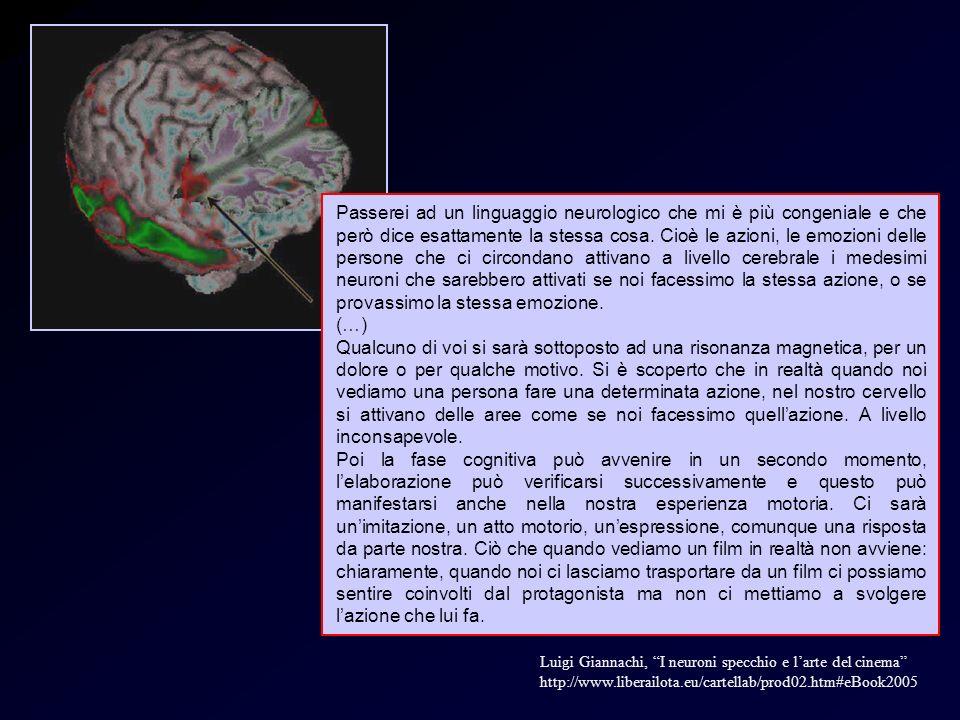 Neuroni e soggettiva 2 Luigi Giannachi, I neuroni specchio e larte del cinema http://www.liberailota.eu/cartellab/prod02.htm#eBook2005 Passerei ad un linguaggio neurologico che mi è più congeniale e che però dice esattamente la stessa cosa.