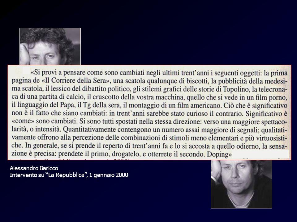 Baricco-doping Alessandro Baricco Intervento su La Repubblica, 1 gennaio 2000