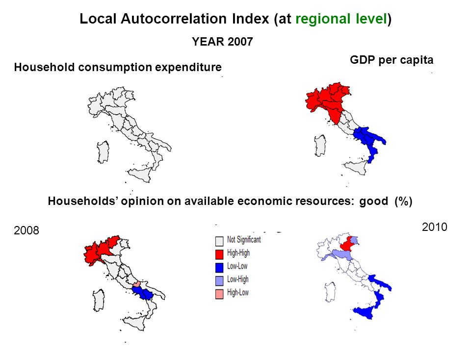 10 Local Autocorrelation Index (at regional level) YEAR 2007 Household consumption expenditure GDP per capita Households opinion on available economic resources: good (%) 2008 2010