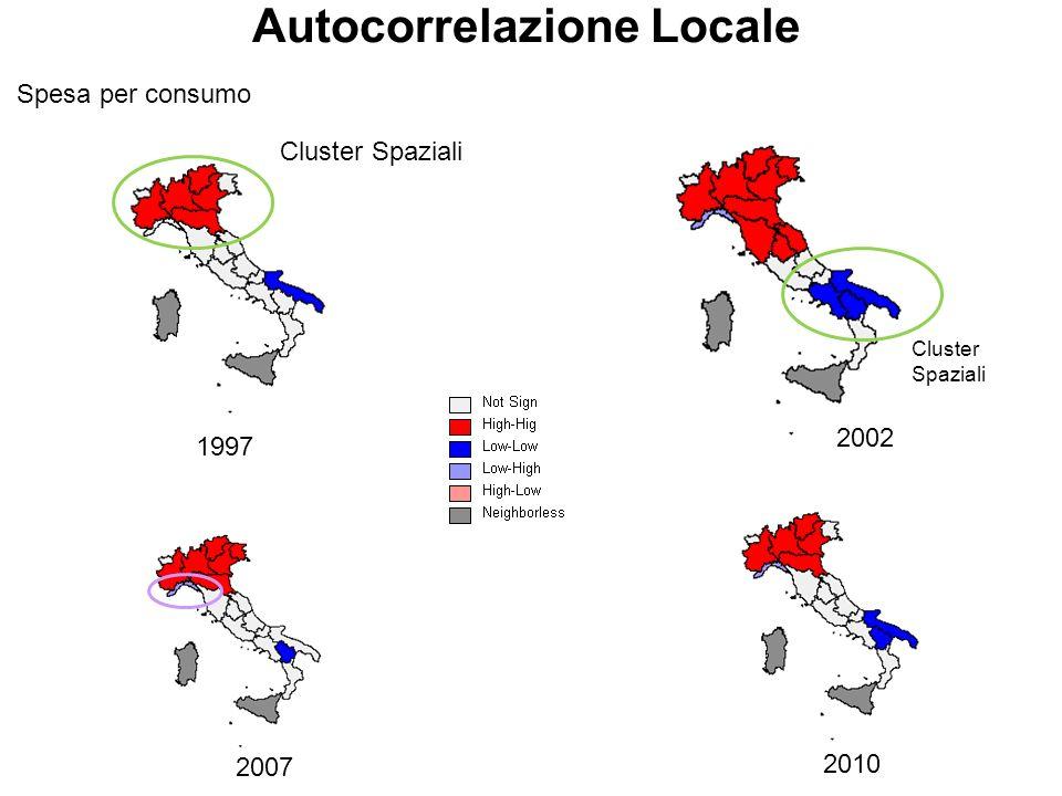 23 Autocorrelazione Locale Spesa per consumo 1997 2002 2007 2010 Cluster Spaziali