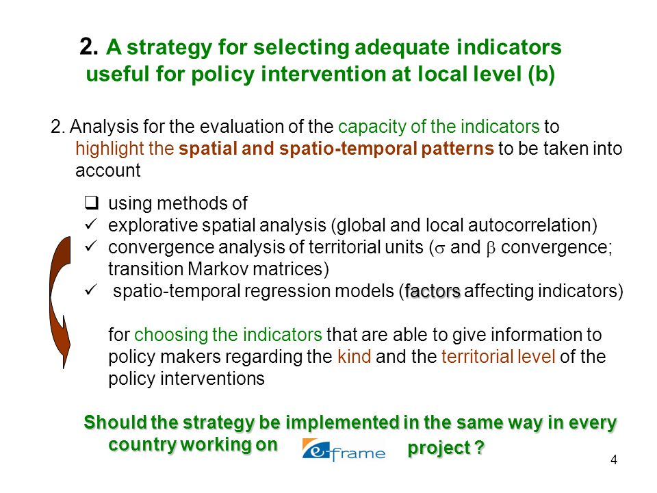4 2. Analysis for the evaluation of the capacity of the indicators to highlight the spatial and spatio-temporal patterns to be taken into account usin