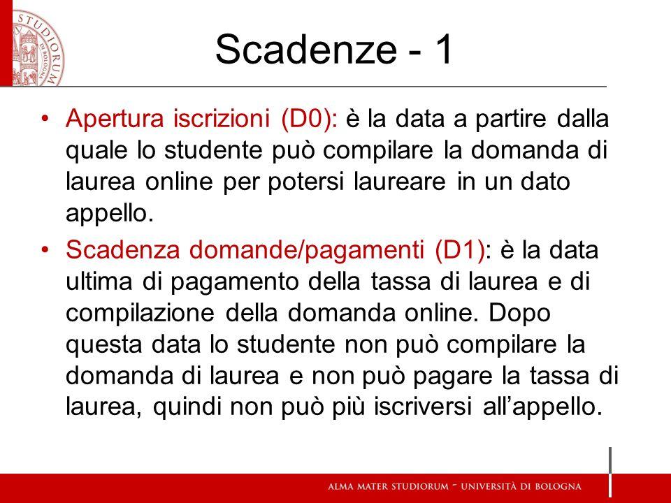 Scadenze - 1 Apertura iscrizioni (D0): è la data a partire dalla quale lo studente può compilare la domanda di laurea online per potersi laureare in u