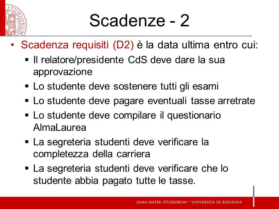 Scadenze - 2 Scadenza requisiti (D2) è la data ultima entro cui: Il relatore/presidente CdS deve dare la sua approvazione Lo studente deve sostenere t