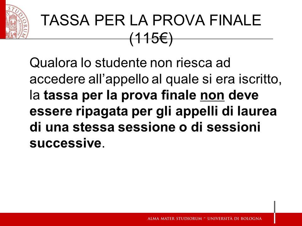 TASSA PER LA PROVA FINALE (115) Qualora lo studente non riesca ad accedere allappello al quale si era iscritto, la tassa per la prova finale non deve
