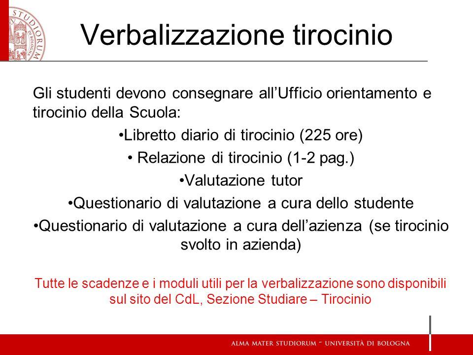 Verbalizzazione tirocinio Gli studenti devono consegnare allUfficio orientamento e tirocinio della Scuola: Libretto diario di tirocinio (225 ore) Rela