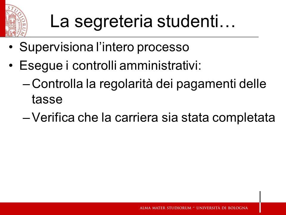 La segreteria studenti… Supervisiona lintero processo Esegue i controlli amministrativi: –Controlla la regolarità dei pagamenti delle tasse –Verifica