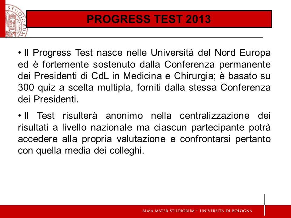 Scienze d Base: Aree esaminate PROGRESS TEST 2013 Il Progress Test nasce nelle Università del Nord Europa ed è fortemente sostenuto dalla Conferenza p
