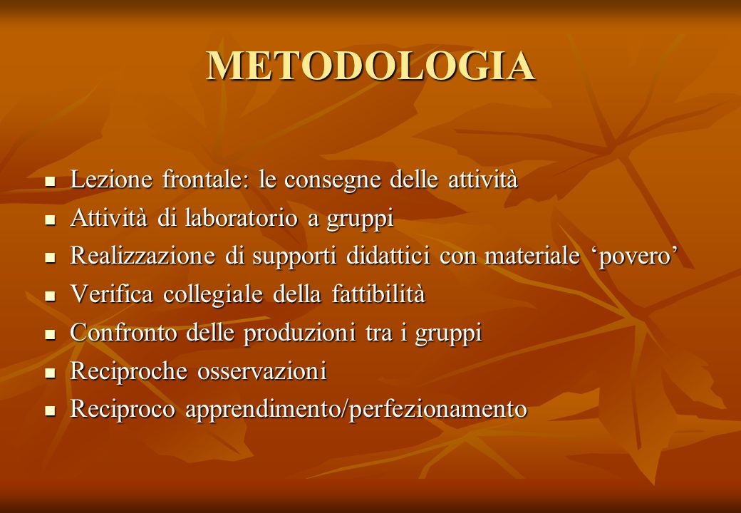 METODOLOGIA Lezione frontale: le consegne delle attività Lezione frontale: le consegne delle attività Attività di laboratorio a gruppi Attività di lab